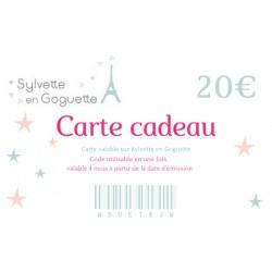 Carte cadeau 20€ à imprimer ou à envoyer par email