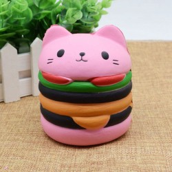 Squishy kawaii hamburger tête de chat rose - ANTI STRESS