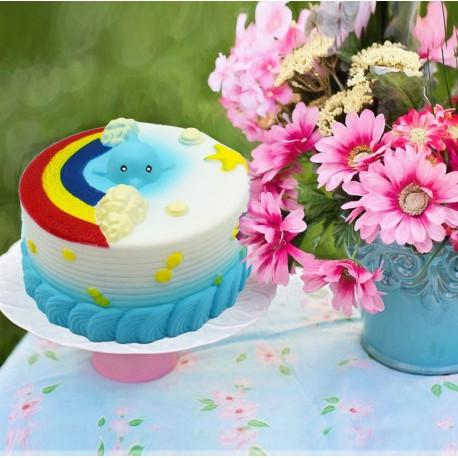 Squishy kawaii gâteau dauphin bleu - ANTI STRESS