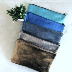 Trousse en cuir glitter bleu