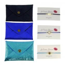 Porte-carte + Bracelet je t'aime maman bleu