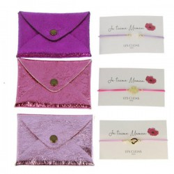 Porte-carte + Bracelet je t'aime maman rose