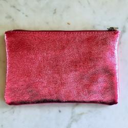 Pochette cuir glitter rose Elena