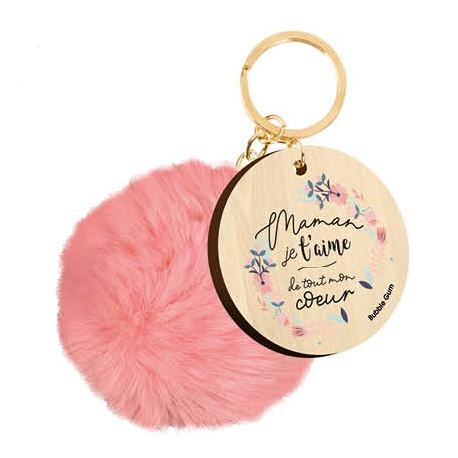 Porte-clé avec pompon Maman je t'aime de tout mon coeur
