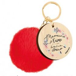 Porte-clé avec pompon Marraine je t'aime de tout mon coeur