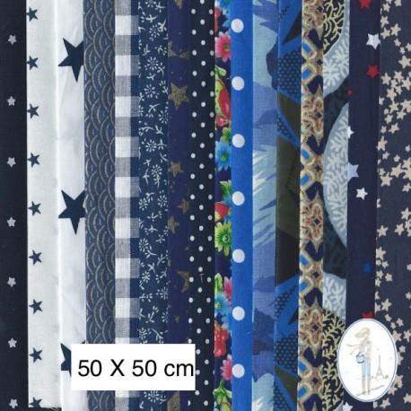 Lot de 3 coupons tissus à motifs BLEU 50 X 50cm