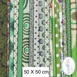 Lot de 3 coupons tissus à motifs VERT 50 X 50cm