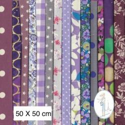 Lot de 3 coupons tissus à motifs MAUVE 50 X 50cm