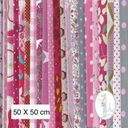 Lot de 3 coupons tissus à motifs ROSE 50 X 50cm