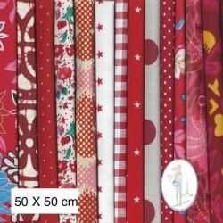 Lot de 3 coupons tissus à motifs ROUGE 50 X 50cm