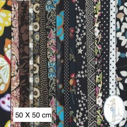 Lot de 3 coupons tissus à motifs NOIR 50 X 50cm
