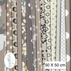 Lot de 3 coupons tissus à motifs TAUPE 50 X 50cm