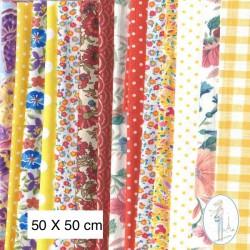 Lot de 3 coupons tissus à motifs JAUNE 50 X 50cm