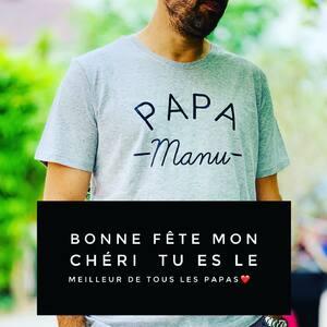 // BONNE FÊTE PAPA MANU // #loveyou #bestdad #superpapa #fatherday #fetedesperes #enfamille #papad #papàmanu #teeshirtpersonnalisé #sylvette_en_goguette @emmanuellaveran